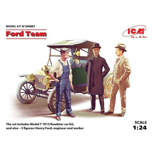 Ford Team (Modell T 1913 Roadster Car Kit und 3 Figuren) Car Kit und Figuren von Henry Ford ein Ingenieur und ein Arbeiter NEXT