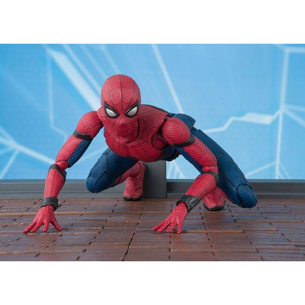 Spider-Man Homecoming S.H. Figuarts Actionfigur Spider-Man & Tamashii Option Act Wall 15 cm