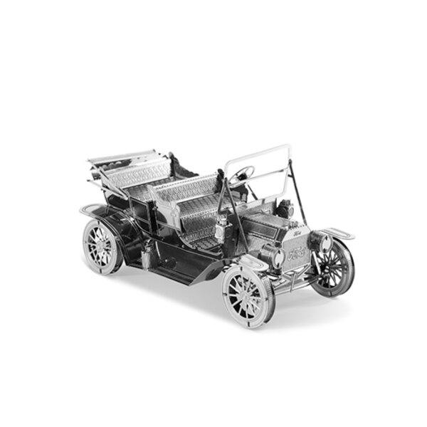 MetalEarth Fahrzeuge: FORD 1908 8.92x4.95x4.56cm, 3D Modell aus Metall mit 2 Blättern, auf Karte 12x17cm, 14+