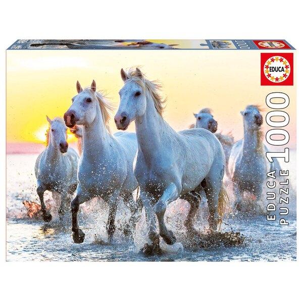 Puzzle Weiße Pferde am Sonnenuntergang au coucher du soleil