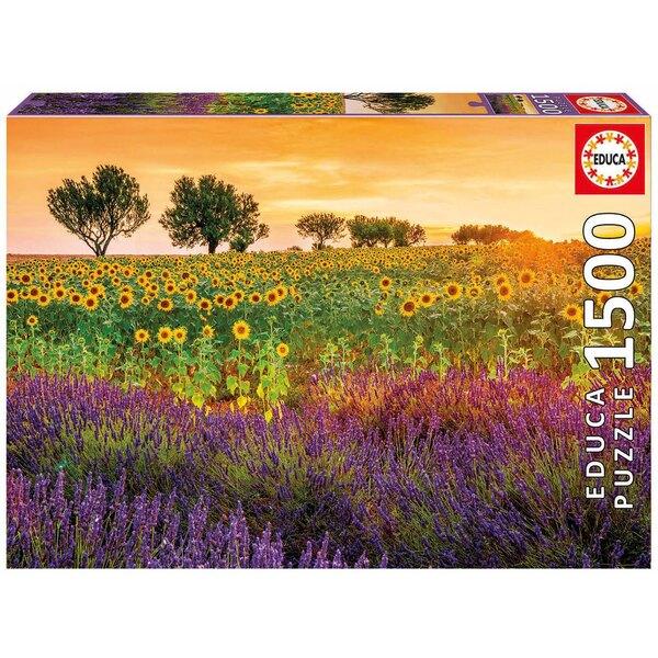 Puzzle Feld von Sonnenblume und Lavendel