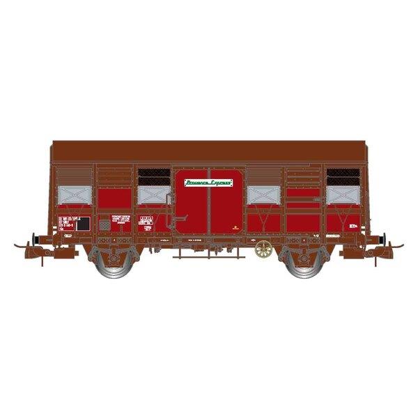 """SNCF, Box mit 2 Kastenwagen mit zwei Achsen, offene Fensterläden, Gss 4-02 """"Provence Express"""", Epoche IV"""