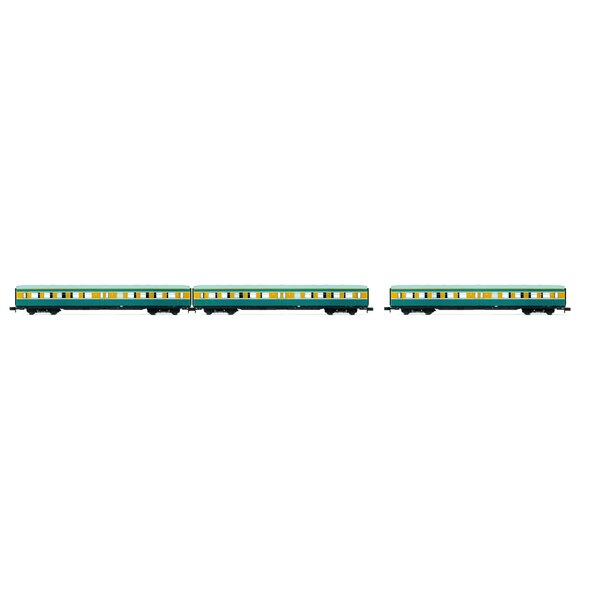 """Set """"S-Bahn Leipzig""""- 3 coaches without drivers cab, DR, period IV, livery blue/yellow"""
