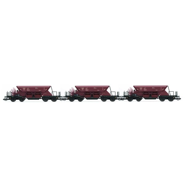Set x 3 self discharging ballast wagons with low top box, 2nd serie, 00tv, brown livery, period 4