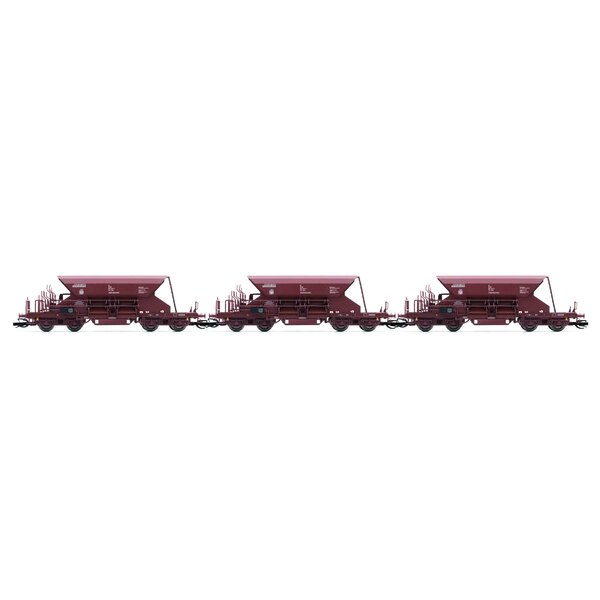 Set x 3 self discharging ballast wagons with high top box, Fac, brown livery, period 4