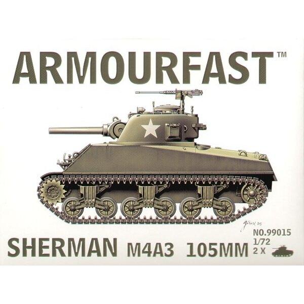 M4A3 Sherman Kanone von 105mm: Satz schließt 2 Schnappen zusammen Panzer-Bausätze ein