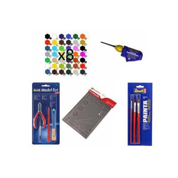 Set mit 8 ausgesuchte Farben, 3 Pinsel, Klebstoff, Schneidezange, Cutter und Schneidematte 1001hobbies PACK-ACC-MEGA