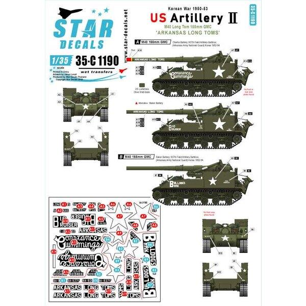 Koreakrieg - US Artillerie 2. Arkansas Long Toms.Koreakrieg 1950-53.M40 155 mm GMC.Arkansas Long Toms, Arkansas-Armee-National