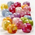 Würfel-Perlen, Mix, Größe 10x10 mm, Lochgröße 4 mm, Sortierte Farben, 400 g, 700ml, ca. 520 Stck. CC Hobby CCH-69701