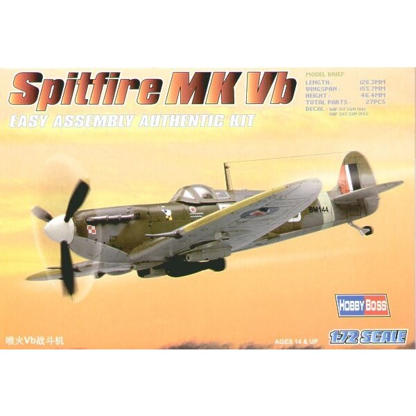 """Supermarine Spitfire Mk.Vb """"Easy Build"""" with 1 piece wings and lower fuselage 1 piece fuselage. Other parts as normal. Optional"""
