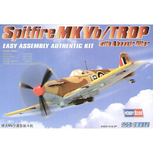 """Supermarine Spitfire Mk.Vb Trop with Filter """"Easy Build"""" with 1 piece wings and lower fuselage 1 piece fuselage. Other parts as"""