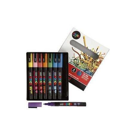 Uni Posca Marker, Strichstärke: 0,9-1,3 mm, PC-3ML , sortierte Farben, Fein - Glitzer, 8Stck.