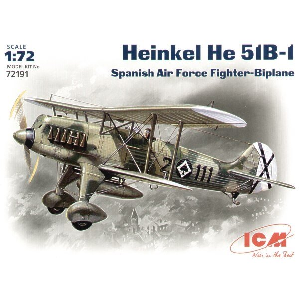 Heinkel He 51B auf Rädern. Abziehbild-Spanisch-Luftwaffe