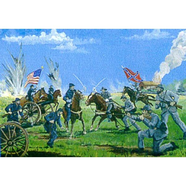 Nord- & Südstaatlerische Artillerie-Kavallerie und Infanterie mit Diorama-Basis