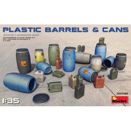 KUNSTSTOFFFÄSSER UND -DOSEN (FÜR JUNI-FREIGABE !!!) Der Kit enthält Plastikmodelle der Aufkleberfür Fässer und Dosen Mini Art