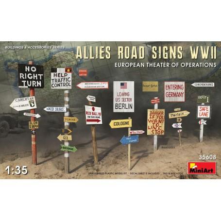 ALLIES ROAD SIGNS WWII.EUROPÄISCHES THEATER DER OPERATIONEN Mini Art MT35608