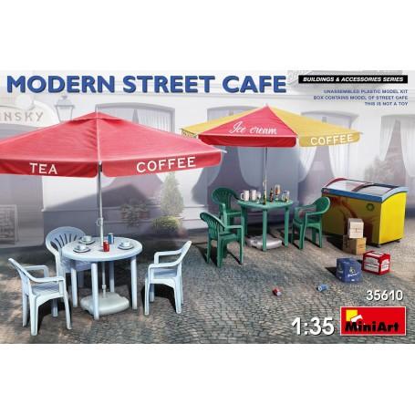 MODERN STREET CAFEKit enthält ein nicht zusammengebautes Plastikmodell von Cafe: 2 Straßenschirme (3 Layouts-Optionen) 2 Plastik