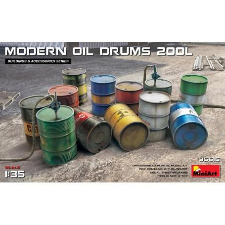 KRAFTSTOFF- UND ÖLTROMMEL Modern Box enthält 12 Modelle von Kraftstoff- und Ölfässern.Aufkleberblatt ist enthalten Mini Art MT3