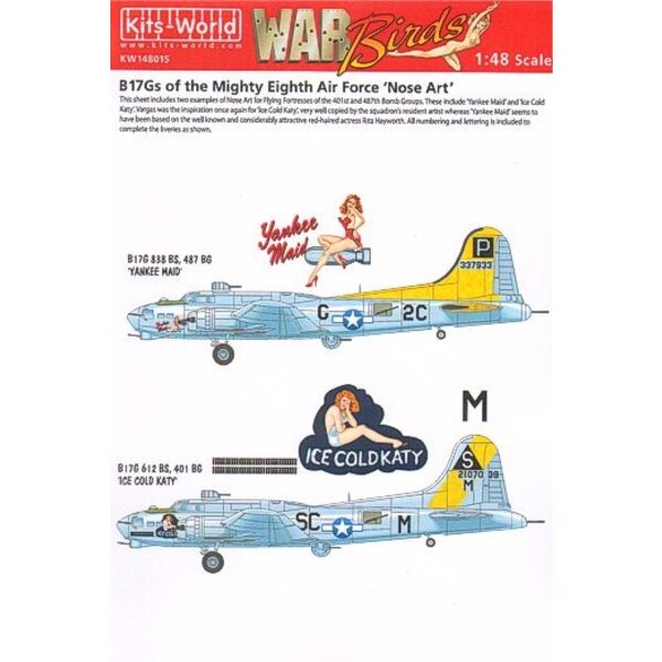 Boeing B-17G Flying Fortress 8th AF Nose Art (2) 2C-G 838th BS 'Yankee Maid' SC-M 612th BS 'Ice Cold Katy' Individual ai