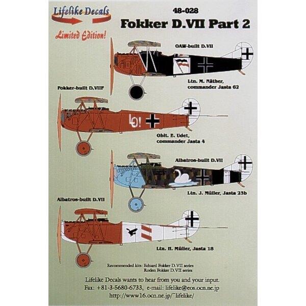 Fokker D.VII Pt 2 (4) Jasta 62 CO Lt.M.Mather black fuselage Jasta 4 CO Oblt E.Udet Jasta 23b Lt J.Muller white swan on fuselage