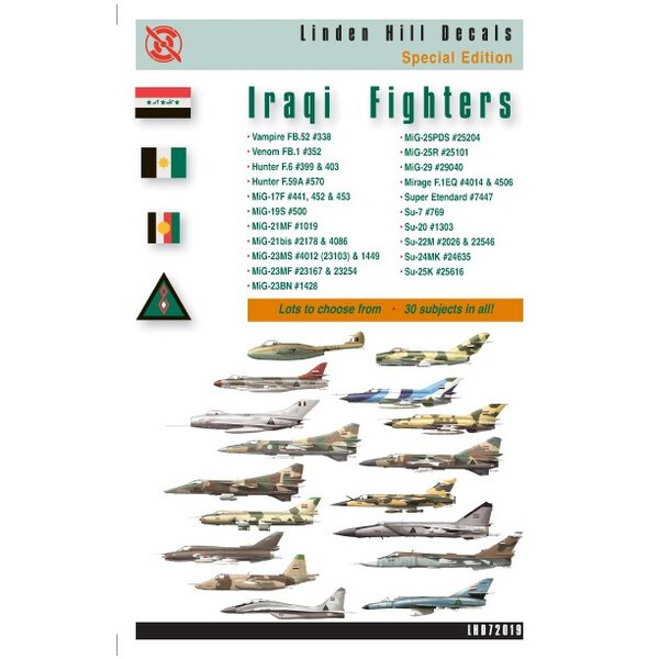 Iraqi Fighters (30) Includes Vampire FB.52 Hawker Hunter F.6 Hawker Hunter F59A Mikoyan MiG-17F Mikoyan MiG-21MF Mikoyan MiG-21b