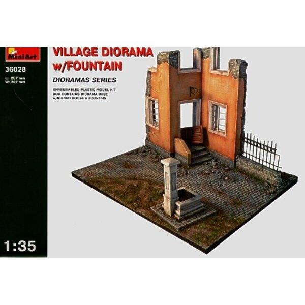 Dorfdiorama mit Brunnen