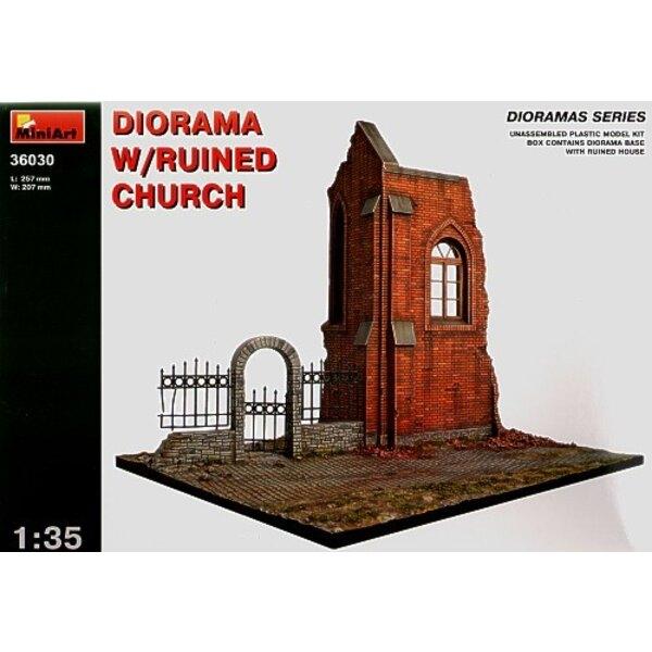 Diorama mit zerstörten Kirche