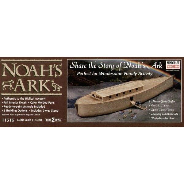 Die Arche von Noah mit Figur von Noah und den Tieren