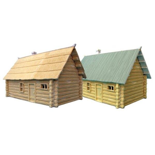 2 x Einzelnes Geschoss-Klotz-Haus. (1 x deckt Dach 1 x planked Dach mit Stroh)