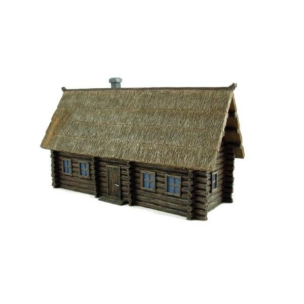 Russischer Izba (Holzdach des Gebäudes/Strohdaches)