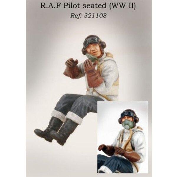 Pilot von RAF im Flugzeug (2WK) gelegen