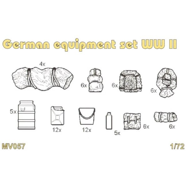 Deutsche Ausrüstung setzt 2WK. Set enthält detaillierte deutsche Ausrüstungset-2WK-Ölkanister-Wasserdose-Benzinkanister-Schlaf-T