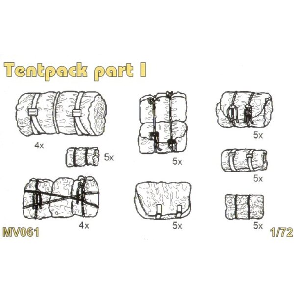 Tentpack Satz des ersten Teils enthält detaillierten Tentpack x 37 pcs.