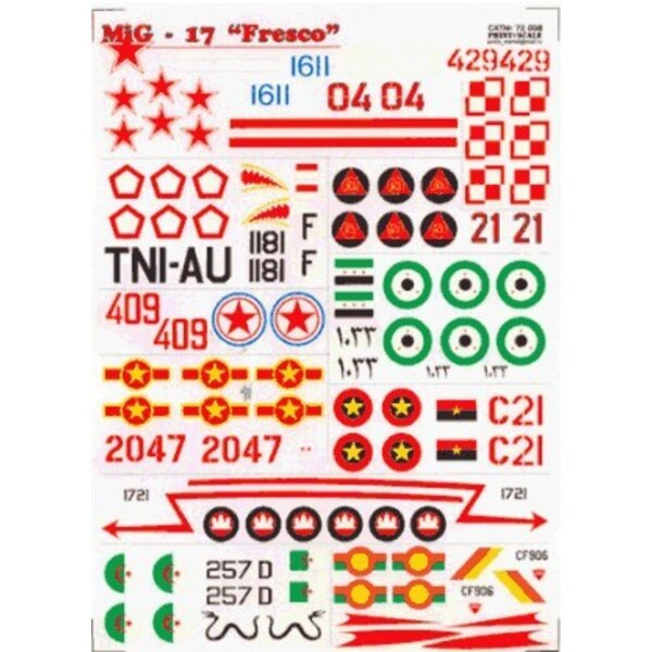 Mikoyan MiG-17 Fresco (13) White 02 Blue 1611 Red 04 allemand Russian Red 429 Poland Black 1181 Indonesia Red 21 Mosambique Egyp
