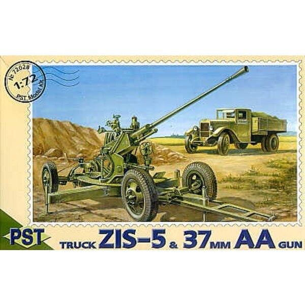 37mm Flak-kanone mit ZIS-5 Lastwagen