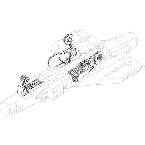 Saab JAS-39 Gripen - Fahrgestell Set. Enthält neue Fahrgestell-Buchten und bedeckt Deckel-Scharniere, die neue Metallwurf-Fahrge