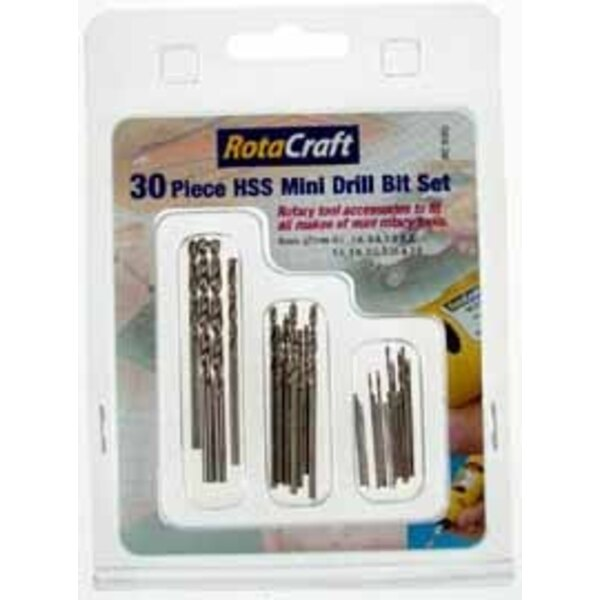 30 piece Mini Drill bit set. 0.5/0.6/0.8/1.0/1.2/1.5/1.8/2.0/2.35/3.0. Fits all types of mini rotary tools