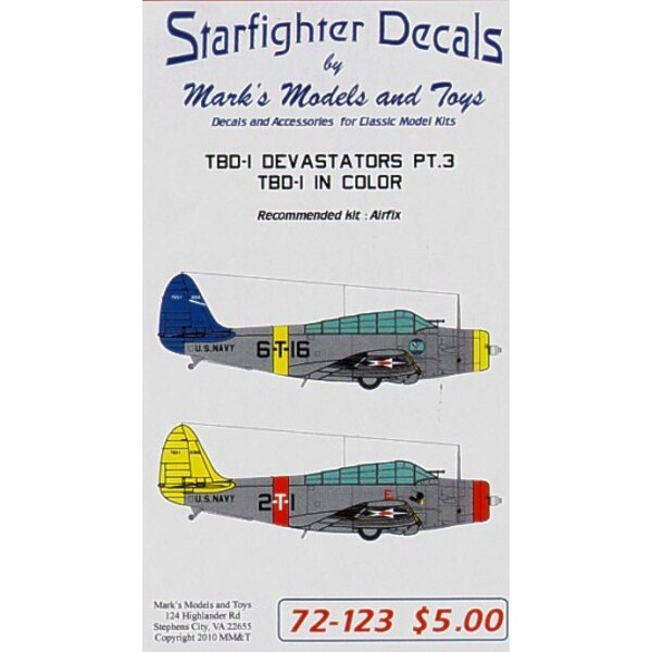 Douglas TBD-1 Devastator Pt 3 (3) 0319 6-T-16 yellow nose and fuselage band 0324 6-T-1 Red nose and fuselage band both VT-6 USS
