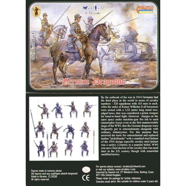 Deutsche Dragoner WWI. 12 Figuren und 12 Pferde. Keine Duplikate.