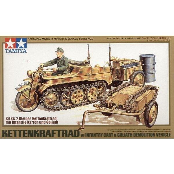 Kettenkrad mit Goliath-Infanterie-Karren. Auch schließt Bar-Handgranate-Abschussvorrichtungsöltrommel-Munitionskasten-Gewehre vo