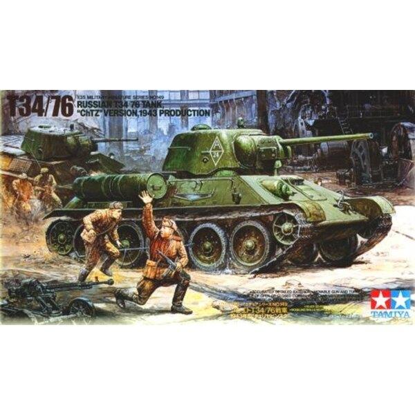 Russischer T-34/76 ChTZ versio 1943-Produktion und DSHk-38 Schwerer Machinengewehr usw.