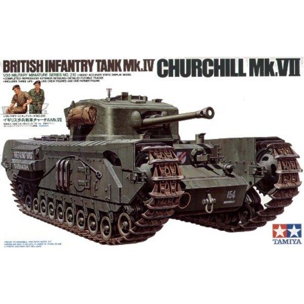 Churchill Mk.VII schließt 3 crewman und 1 europäische Zahl von Farmer und kleinen 4 Radkarren ein