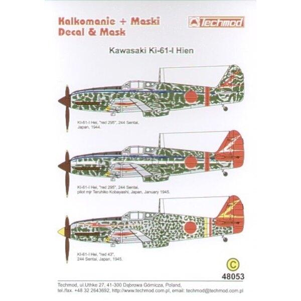 Kawasaki Ki-61 Hein Part 2. (3) 244 Sentai. Red 295 narrow blue fuselage band red tail band Red 295 as previous plus white fusel