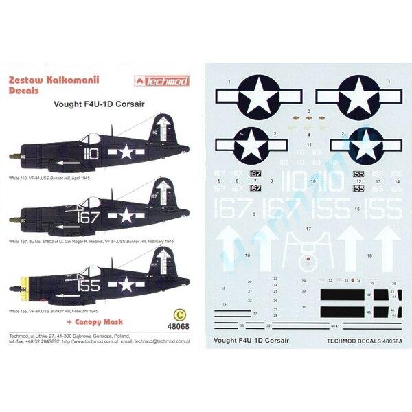 Vought F4U-1D Corsair (3) White 110 White 167 57803 White 155 allemand VF-84 Bunker Hill 1945