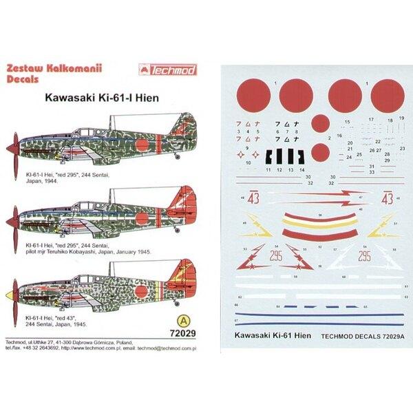 Kawasaki Ki-61-1 Hein (3) Red 295 244 Sentai. Two different schemes Red 43 24 Sentai Japan 1944