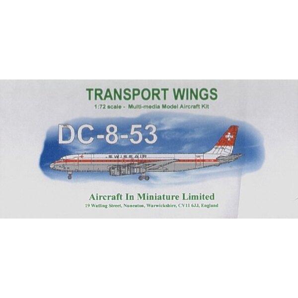 Douglas DC-8-53 Swiss Air. Vorkürzung vac bildet Rumpf/Flügel mit Harz-Motoren und Pylonen. Metall Fahrgestell und Motoranhänger
