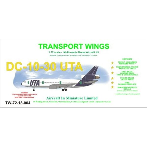 McDonnell Douglas DC-10-30. Abziehbilder UTA mit fakultativen Fensterrollläden. Vorkürzung vac bildet Rumpf/Flügel mit Harz-Moto