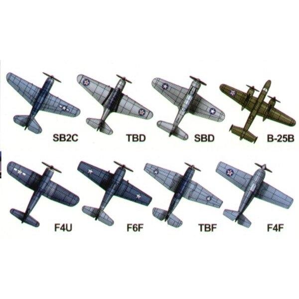 US Marineflugset-2WK. North American B-25 4 pcs Grumman F6F-4 6 pcs Douglas SBD 6 pcs Grumman F6F Hellcat 6 pcs Douglas TBD-1 6