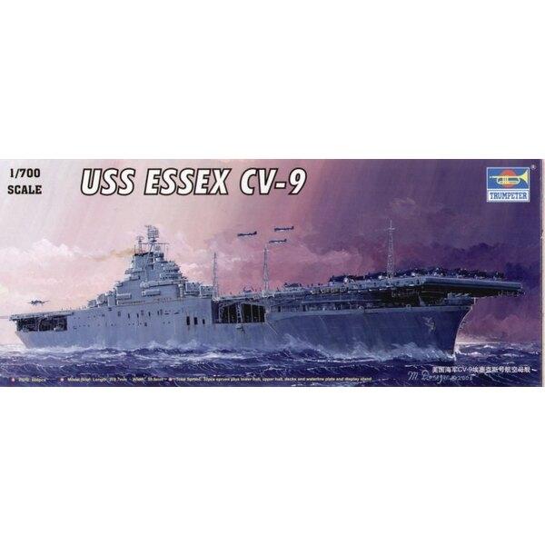 USS Essex CV-9 Flugzeugträger mit blauen gevac-bildeten Seebasis