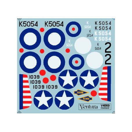 Decal Prototypes. Supermarine Spitfire and XNorth American P-51 Mustang. Supermarine Spitfire K5054 numbered 2 at RAF Pageant He